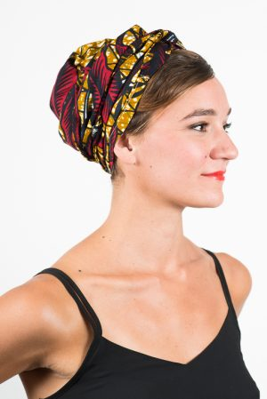 foudre_turban_bandeau_cheveux_tissu_africain_wax_feuille_rouge_jaune_3
