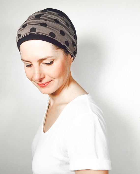 foudre_turbans_chimiotherapie_ensemble_volume_bandeaux_scratch_pois_taupe