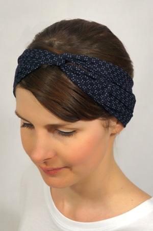 site officiel nouveau design San Francisco Bandeau à cheveux bleu marine à motif blanc - Sash
