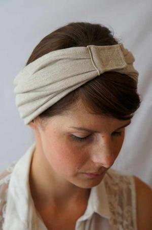 Bandeau à cheveux vintage Foudre en jersey de lin bio