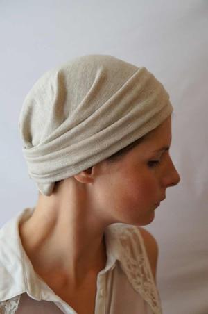 Bandeau à cheveux fichu pour chimiothérapie lin bio