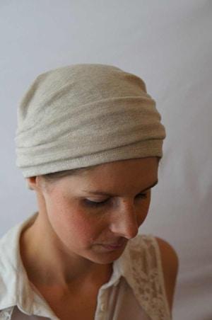 Bandeau à cheveux bio fichu pour chimiothérapie Café lin ecru