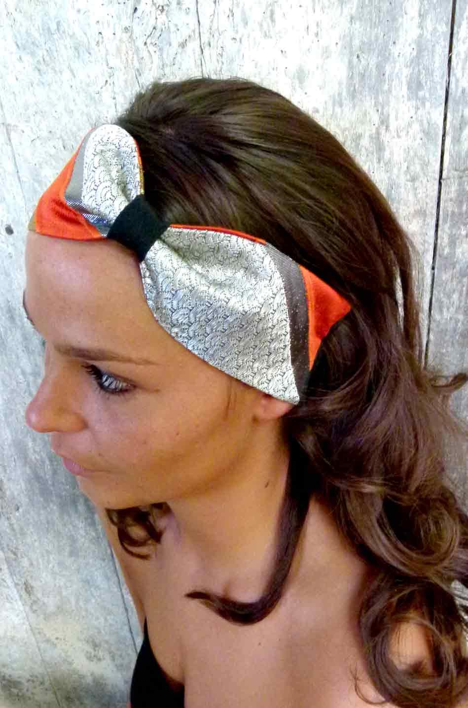 bandeau cheveux headband noeud en soie de kimono le shop foudre turbans bandeaux cheveux. Black Bedroom Furniture Sets. Home Design Ideas