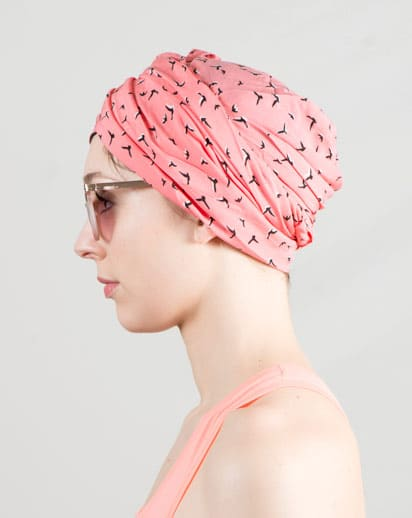 Bonnet foulard idéal pour chimiothérapie à motif oiseaux corail