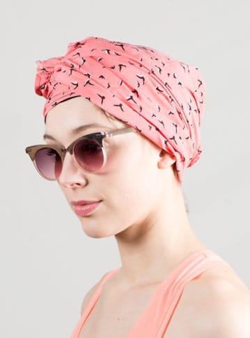 Turban foulard idéal pour chimiothérapie à motif oiseaux corail