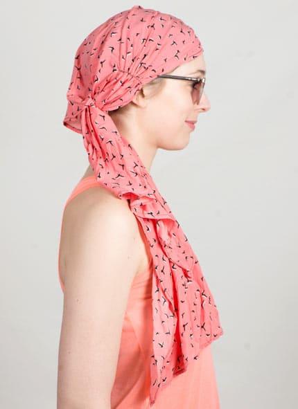 Bonnet turban idéal pour chimiothérapie à motif oiseaux corail