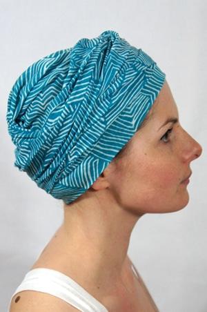 foudre-turbans-chimiotherapie-motif-lagon-bleu