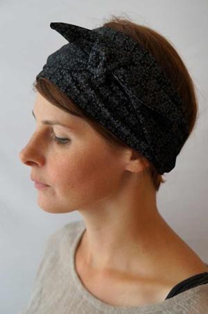 Bandeau à cheveux headband extensible à fleurs noir et gris Foudre