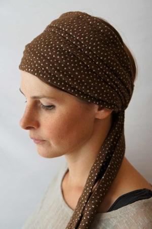 Bandeau à cheveux headband extensible à pois marron et blanc Foudre