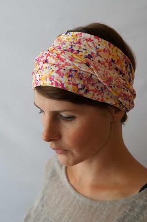 Bandeau à cheveux headband extensible jaune et rose