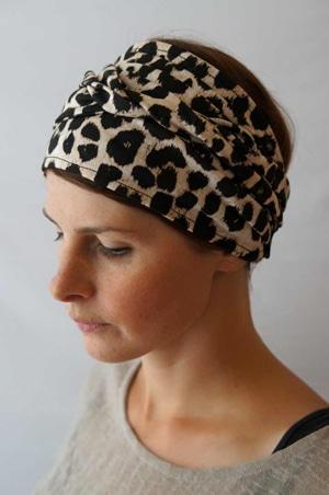Bandeau à cheveux headband extensible Foudre léopard