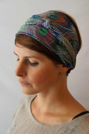 Bandeau à cheveux headband extensible Foudre à motif plume de paon