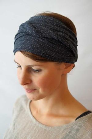 Bandeau à cheveux headband extensible Foudre à pois gris