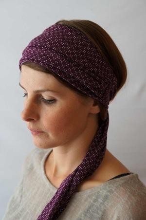 Bandeau pour chimiothérapie violet extensible porté fichu Foudre Headband