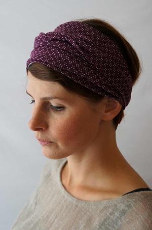 Bandeau pour chimiothérapie violet extensible porté fichu Foudre