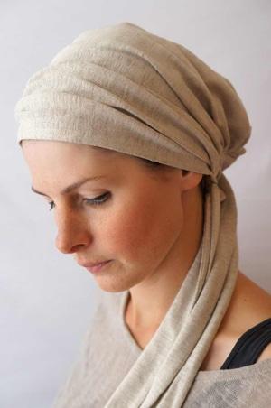 Bandeau à cheveux headband extensible beige en lin naturel bio Foudre