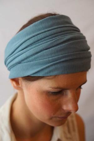 Bandeau à cheveux plissé pour chimiothérapie vert
