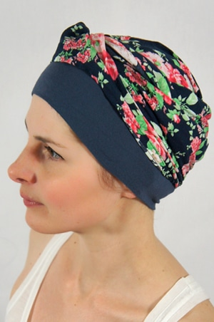 foudre-bonnet-foulard-chimiotherapie-fleurs-bleu-2