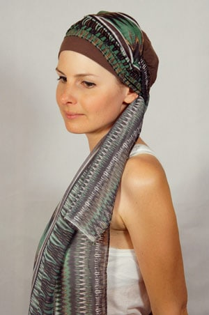 bonnet-foulard-chimiotherapie-foudre-marron-vert