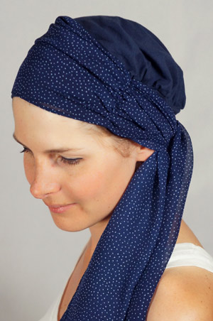 bonnet-foulard-chimiotherapie-pois-bleu
