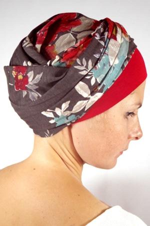 foudre-turban-chimiotherapie-fleurs-gris