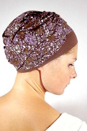 foudre-turban-chimiotherapie-liberty-violet-2Turban pour chimiothérapie - Liberty violet
