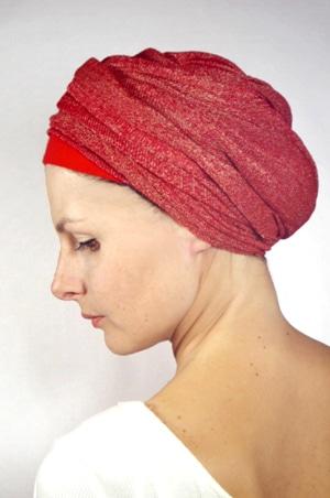 foudre-bonnet-turban-foulard-chimiotherapie-pelade-rouge-dore-