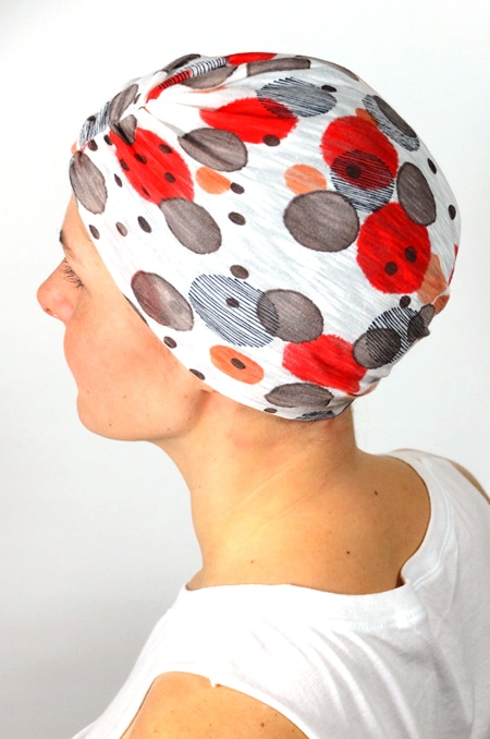bonnet_chimiotherapie_foudre_pois_corail_taupe_3