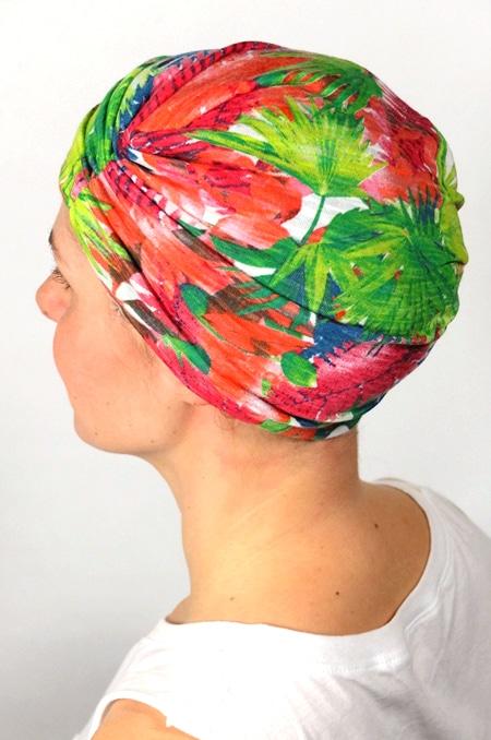 bonnet_chimiotherapie_foudre_fleurs_tropical_palmiers_3