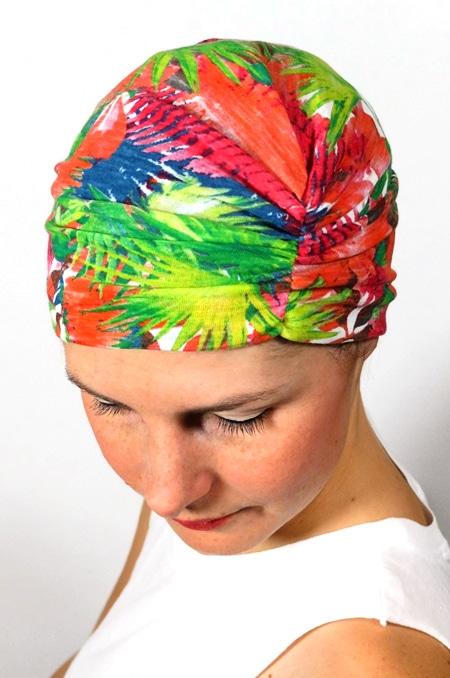 bonnet_chimiotherapie_foudre_fleurs_tropical_palmiers