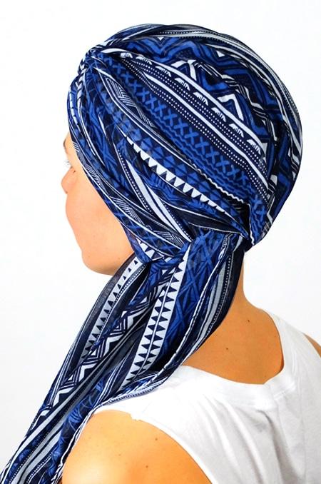 foulard_chimiotherapie_foudre_graphique_bleu_sen