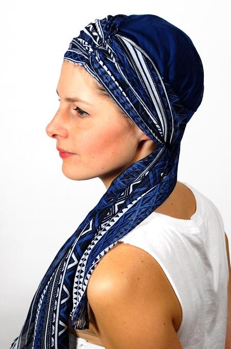 foulard_chimiotherapie_foudre_graphique_bleu_sen6