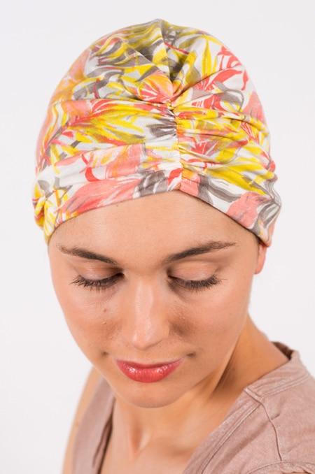 bonnet_chimiotherapie_foudre_fleurs_tropical_corail_ibis