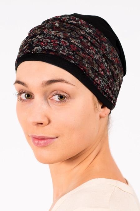 pack_chimiotherapie_bonnet_bandeau_chimio_fleuri_noir