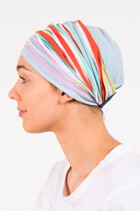 pack_chimiotherapie_bonnet_bandeau_chimio_rayures_pastelles
