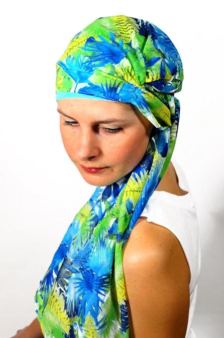 foulard_chimiotherapie_bonnet_turban_foudre_tropical_turquoise