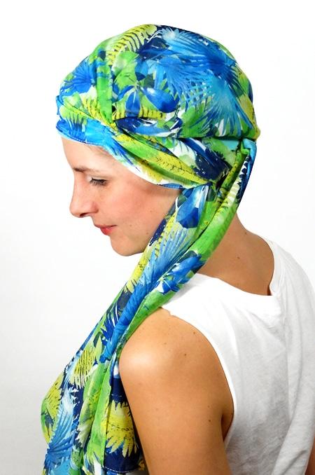foulard_chimiotherapie_foudre_bleu_fleurs_tropical_trop2