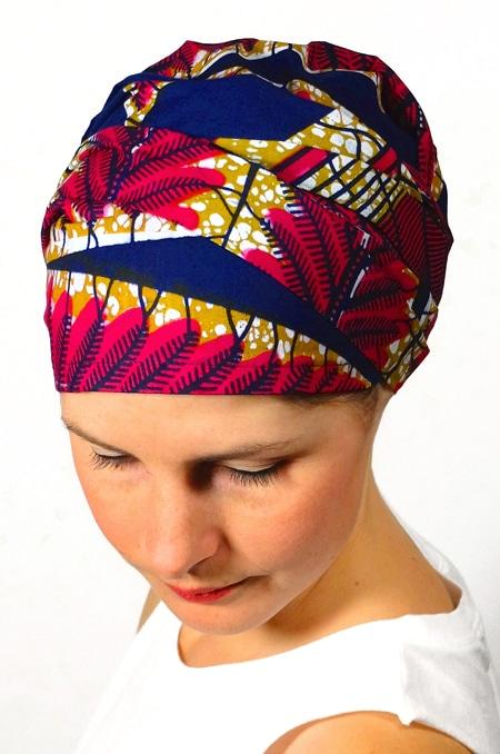 bandeau_chimiotherapie_foudre_tissu_africain_wax_marine_2