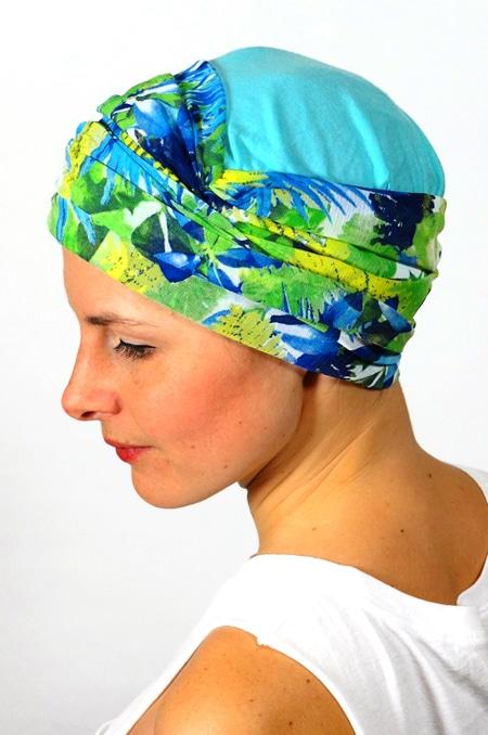 foulard_chimiotherapie_foudre_bleu_fleurs_tropical_trop3