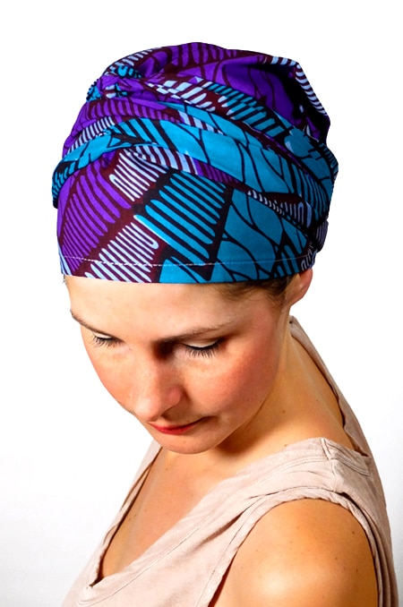 bandeau_chimiotherapie_foudre_tissu_africain_wax_violet