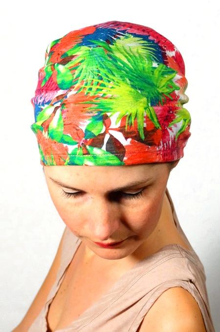 bandeau_scratch_chimiotherapie_foudre_fleurs_tropicales_palmiers_2