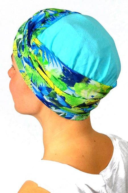 foulard_chimiotherapie_foudre_bleu_fleurs_tropical_trop4