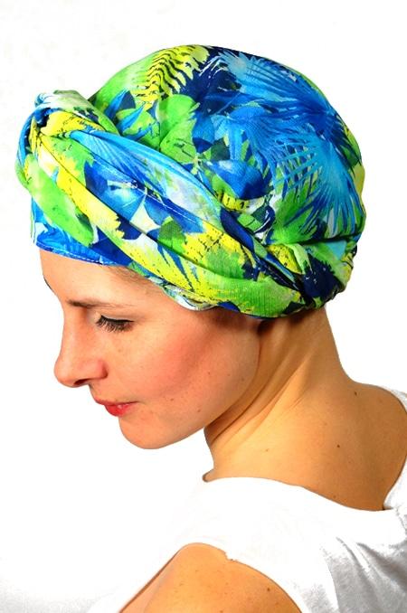 foulard_chimiotherapie_foudre_bleu_fleurs_tropical_trop5