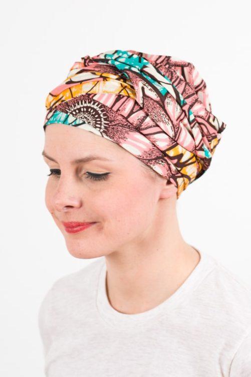 turban_chimiotherapie_coton_wax_africain_rose_bleu_sun2