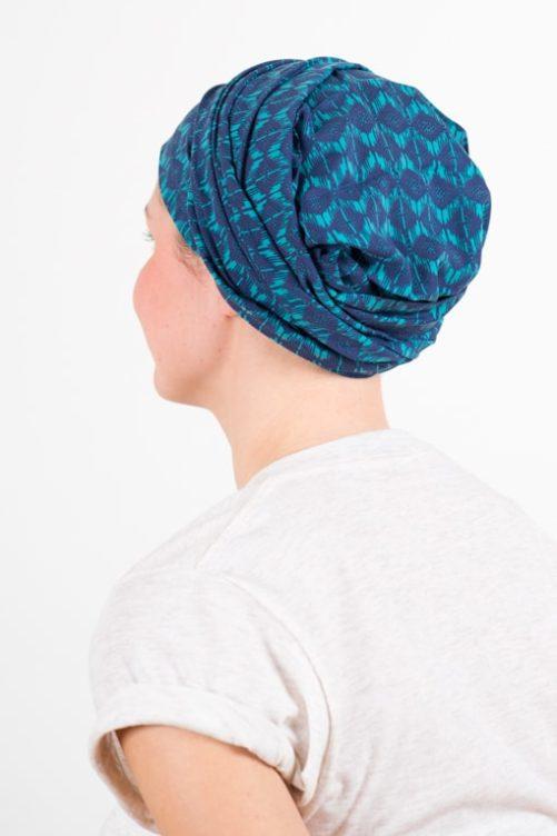 turban_chimiotherapie_coton_foudre_turquoise_azur_1