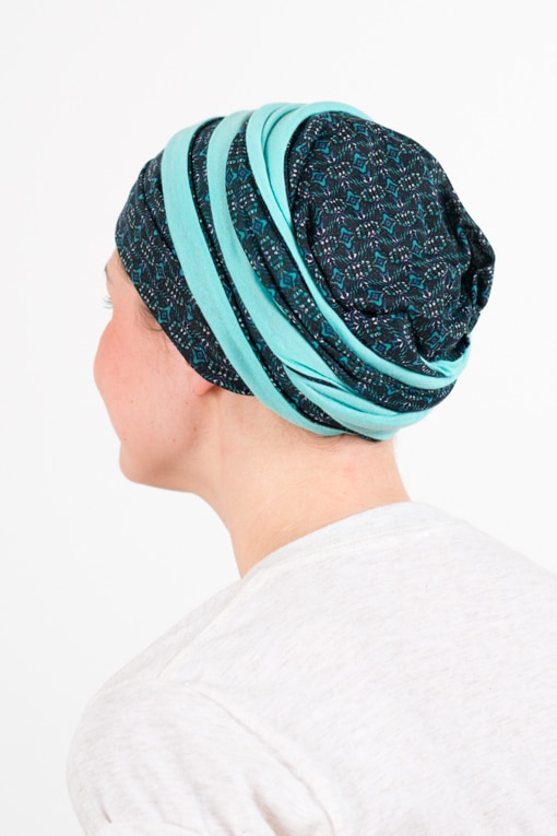 turban_chimiotherapie_coton_foudre_bicolore_turquoise_top