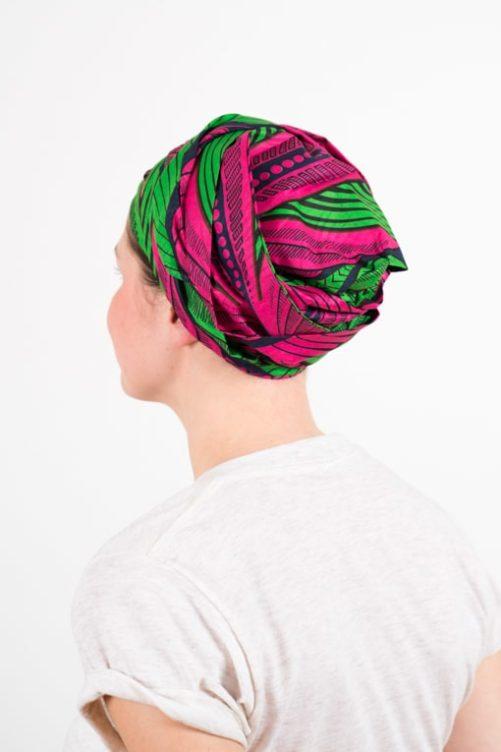 turban_chimiotherapie_coton_wax_africain_rose_vert_1