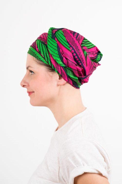 turban_chimiotherapie_coton_wax_africain_rose_vert_2