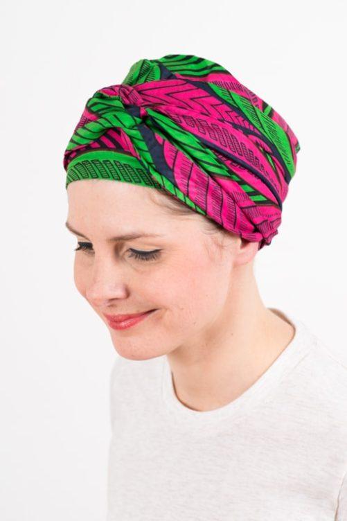 turban_chimiotherapie_coton_wax_africain_rose_vert_4