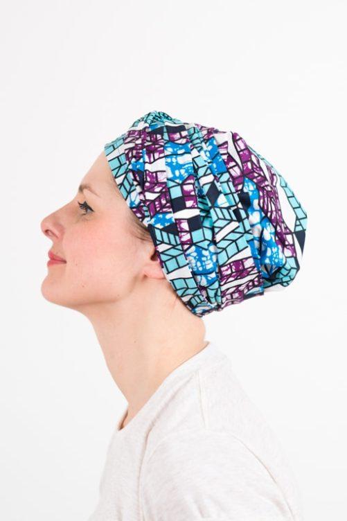 turban_chimiotherapie_coton_tissu_africain_wax_bleu_violet_2